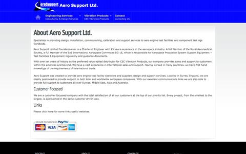 Screenshot of About Page aerosupport.aero - About Aero Support - captured Feb. 5, 2016