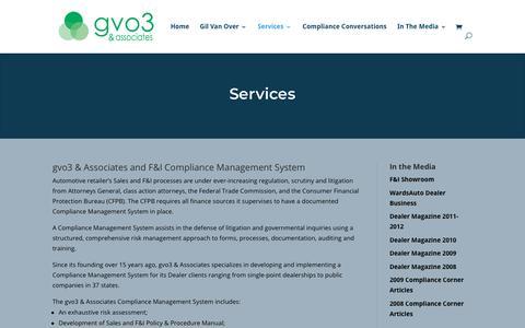 Screenshot of Services Page gvo3.com - Services | gvo3 & Associates - captured Nov. 11, 2018