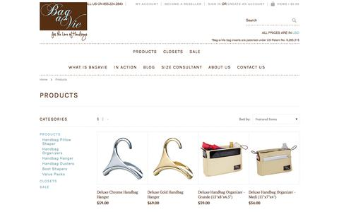 Screenshot of Products Page bagavie.com - Products   Bag-a-Vie - captured Aug. 1, 2018