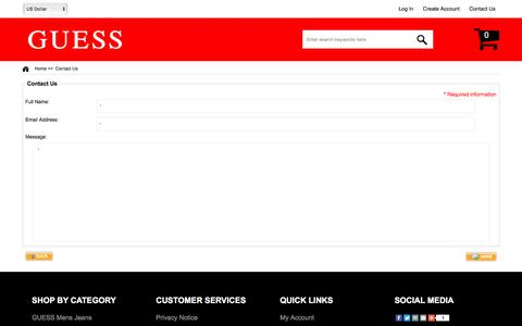 Screenshot of Contact Page wowinvicto.com - Contact Us : Guess Shoes, Guess Store - captured Jan. 31, 2018