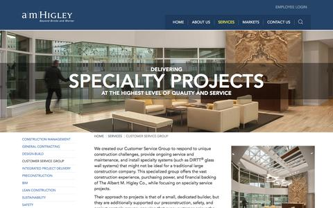Screenshot of Support Page amhigley.com - Our Customer Service Group Can Handle Unique Construction Challenges | AMHigley - captured Feb. 15, 2016