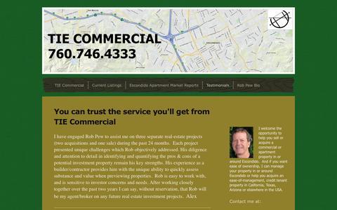 Screenshot of Testimonials Page tiecommercial.com - Testimonials - TIE Commercial - captured Sept. 30, 2014