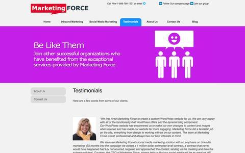 Screenshot of Testimonials Page marketingforce.ca - Testimonials   Marketing Force - captured Oct. 3, 2014