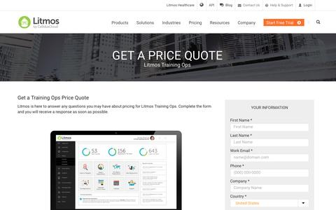 Screenshot of Pricing Page litmos.com - Training Ops Price Quote   Litmos LMS - captured March 3, 2017