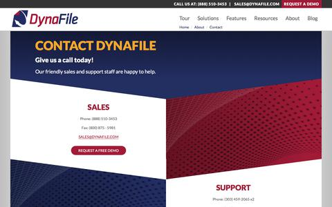 Screenshot of Contact Page dynafile.com - Contact DynaFile | Cloud Document Management Software - captured June 5, 2017