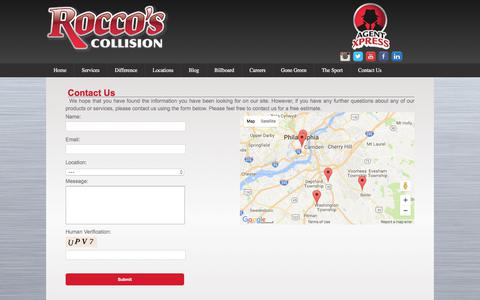 Screenshot of Contact Page roccoscollision.com - Contact Us - Rocco's Collision - captured Oct. 22, 2017