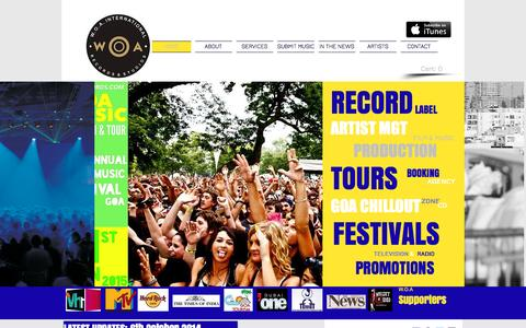 Screenshot of Home Page woarecords.com - W.O.A International - The Music Company. Record Label | Artist Management | Music Marketing - captured Oct. 7, 2014