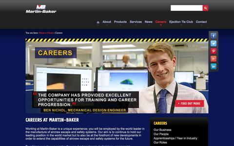 Screenshot of Jobs Page martin-baker.com - Careers - captured Oct. 27, 2014
