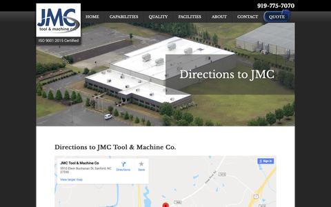 Screenshot of Maps & Directions Page jmctool.com - Directions - JMC Tool & Machine Co. - captured Oct. 2, 2018