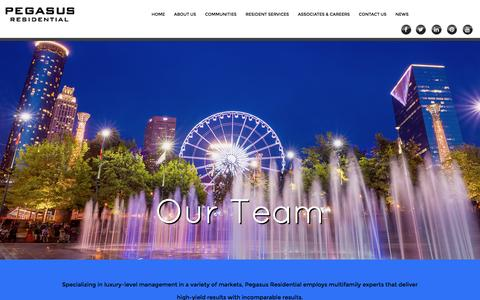 Screenshot of Team Page pegasusresidential.com - Pegasus Residential - Apartments in Louisiana, Mississippi, Georgia, Florida, North Carolina, South Carolina, Texas, and Alabama - captured Dec. 8, 2015