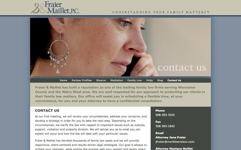 Screenshot of Contact Page northborolaw.com - Divorce, Mediation & Family Law Attorneys | Northboro - captured Oct. 6, 2014