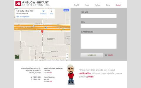 Screenshot of Contact Page anslowbryant.com - Contact | Anslow Bryant Construction, LTD. - captured Nov. 2, 2014