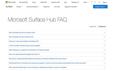 Screenshot of FAQ Page microsoft.com - Microsoft Surface Hub | Frequently Asked Questions - captured July 12, 2018