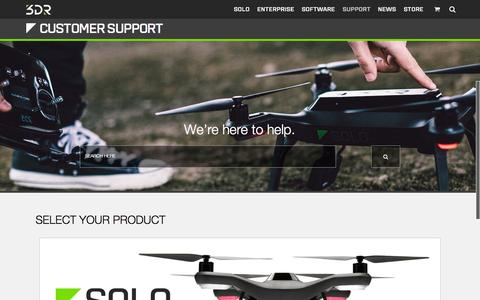 Screenshot of Support Page 3drobotics.com - Support - captured Nov. 3, 2015