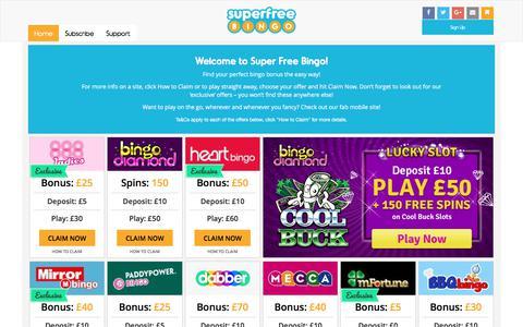 Screenshot of Home Page superfreebingo.com - Super Free Bingo - Free Bingo | Online Bingo | Super Free Bingo - captured June 17, 2017