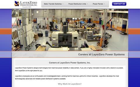 Screenshot of Jobs Page layerzero.com - Careers at LayerZero - LayerZero Power Systems Jobs - captured Oct. 2, 2014