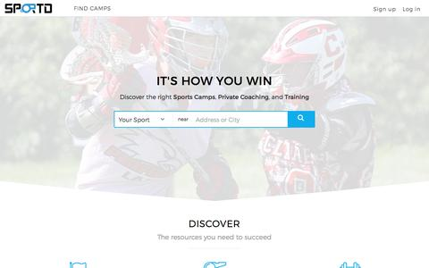 Screenshot of Home Page sportd.com - Find The Best Sports Camps and Private Coaches - Sportd - captured Dec. 20, 2016