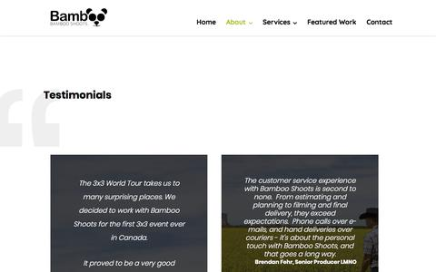 Screenshot of Testimonials Page bambooshoots.ca - Testimonials | Bamboo Shoots | Calgary | Regina | Saskatoon | Film Production Company - captured Aug. 1, 2018