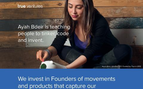 Screenshot of Home Page trueventures.com - True Ventures - captured Aug. 4, 2015