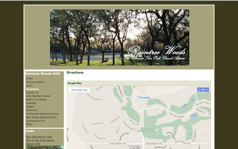 Screenshot of Maps & Directions Page google.com - Directions - Raintree Woods HOA - captured June 16, 2016