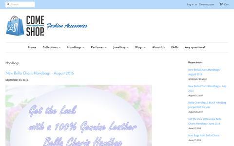 Screenshot of Blog comeandshop.com.au - Handbags – Come & Shop® - captured Nov. 7, 2016