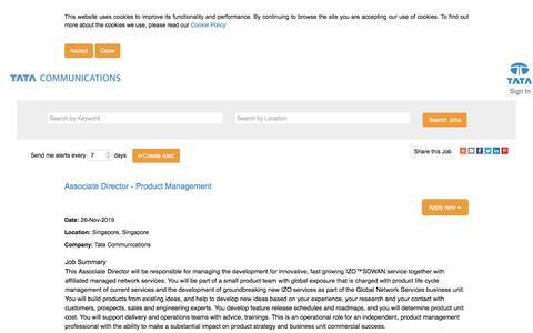 Screenshot of Jobs Page tatacommunications.com - Associate Director - Product Management - captured Dec. 18, 2019