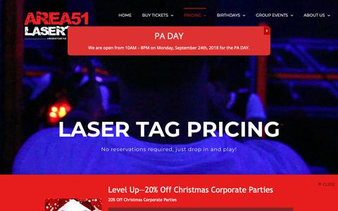 Screenshot of Pricing Page planet-play.ca - Laser tag Pricing for drop in and play - Area51 Lasertag - captured Sept. 28, 2018