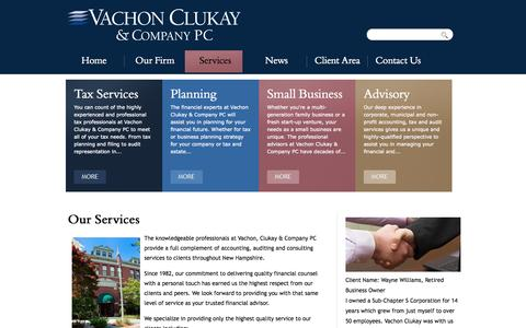 Screenshot of Services Page vachonclukay.com - Our Services | Vachon Clukay & Company PC - captured Oct. 9, 2014