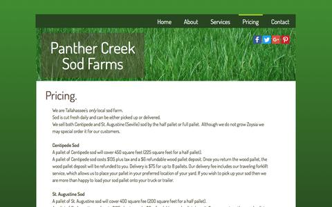 Screenshot of Pricing Page panthercreeksodfarms.com - Pricing - captured July 15, 2018