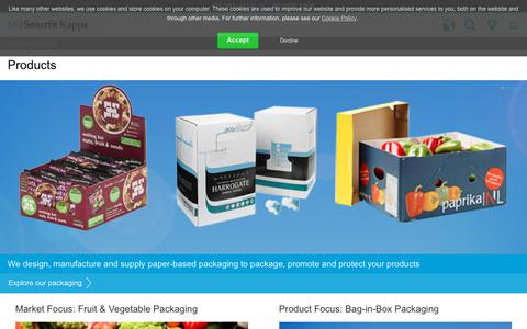Screenshot of Products Page smurfitkappa.com - Products - captured Jan. 27, 2018