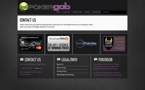 Screenshot of Contact Page pokergob.com - Contact Us | PokerGob - Your Mouth of Poker - captured Oct. 2, 2014