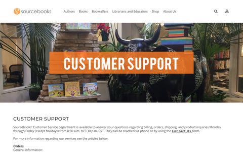 Screenshot of Support Page sourcebooks.com - Customer Support - captured Sept. 21, 2018