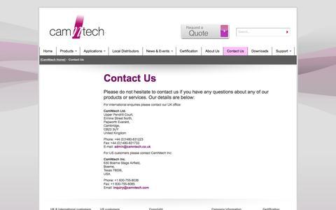 Screenshot of Contact Page camntech.com - Contact Us - CamNtech - captured Oct. 18, 2016