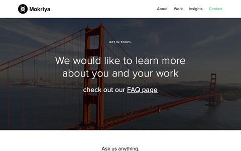 Screenshot of Contact Page mokriya.com - Contact Mokriya: Mobile Apps Design and Development for global brands and startups - captured Jan. 10, 2016
