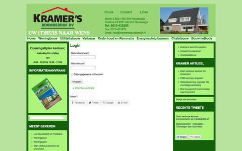Screenshot of Login Page kramersbouwbedrijf.nl - Login - captured Oct. 6, 2014