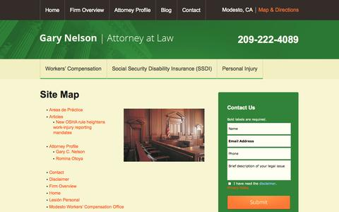 Screenshot of Site Map Page gcnelsonlaw.com - Site Map   Law Office of Gary C. Nelson   Modesto - captured Oct. 2, 2014