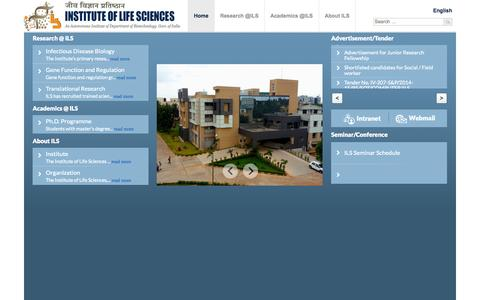 Screenshot of Home Page ils.res.in - Institute of Life Sciences, Bhubaneswar, Department of Biotechnology, Government of India - captured Jan. 25, 2015