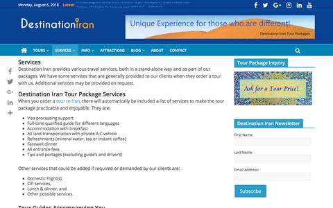Screenshot of Services Page destinationiran.com - Services | Destination Iran Tours - captured Aug. 6, 2018