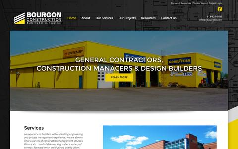 Screenshot of Home Page rjbourgon.com - Bourgon Construction - Building better. Together. - captured Sept. 13, 2015