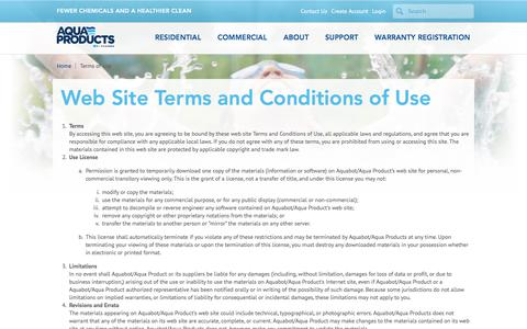 Screenshot of Terms Page aquabot.com - Terms of Use - captured July 30, 2018