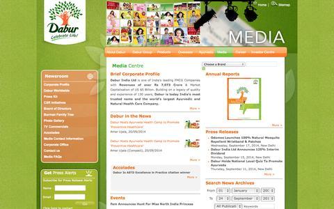 Screenshot of Press Page dabur.com - Dabur Online - Media - captured Sept. 25, 2014
