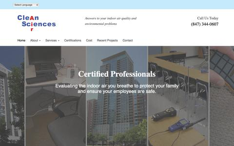 Screenshot of Home Page cleanairsciences.com - Clean Air Sciences - Indoor Air Quality, Mold, Industrial Hygiene - captured Sept. 28, 2018