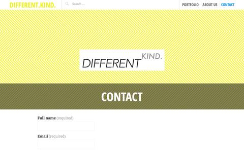 Screenshot of Contact Page differentkind.com.au - Contact | Different.Kind. - captured Oct. 29, 2014