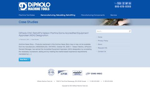Screenshot of Case Studies Page dipaolocnc.com - Case Studies - Dipaolo - captured Oct. 5, 2014