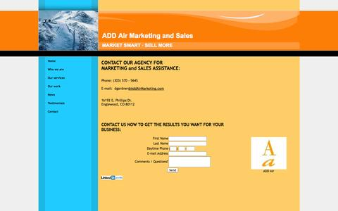 Screenshot of Contact Page addairmarketing.com - Contact ADD air Information, address, phone number - captured Oct. 4, 2014