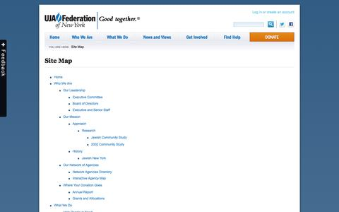 Screenshot of Site Map Page ujafedny.org - Site Map » UJA-Federation of New York - captured Sept. 19, 2014