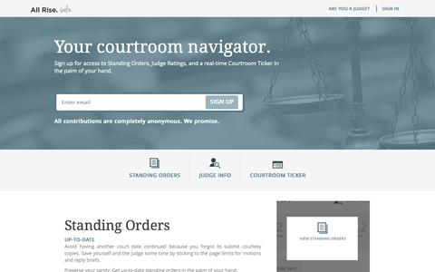 Screenshot of Home Page allriseapp.com - All Rise: Standing Orders, Judge Calendars, and Legal Reviews - captured Oct. 3, 2014