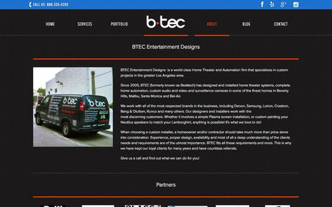 Screenshot of About Page btecdesign.com - About - BTEC Entertainment Designs - captured Oct. 4, 2014