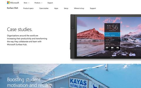 Screenshot of Case Studies Page microsoft.com - Microsoft Surface Hub | Case studies - captured May 9, 2017
