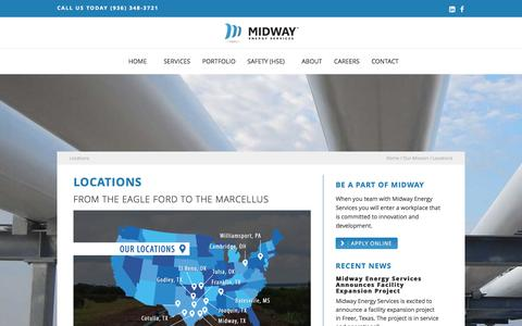 Screenshot of Locations Page midwayenergyservices.com - Locations | Midway Energy Services - captured Jan. 10, 2016